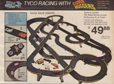 Electric slot car racing set- my brothers spent hours playing! Slot Car Racing Sets, Ho Slot Cars, Slot Car Tracks, Race Tracks, Childhood Toys, Childhood Memories, Cars 1, Retro Toys, Classic Toys