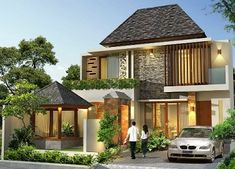 Best Two Storey House Plans Idea Two Storey House Plans, 2 Storey House Design, Cool House Designs, Modern House Design, Modern Exterior, Exterior Design, Style At Home, Minimalis House Design, Style Bali