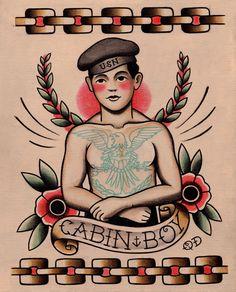 """Cabin Boy,"" Quyen Dinh Parlor Tattoo Prints on Etsy"