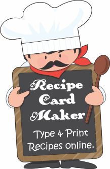 FREE RECIPE CARD MAKER  Type in your recipes online.