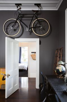 Home office with grey walls and white door. home · interior · decorating ideas