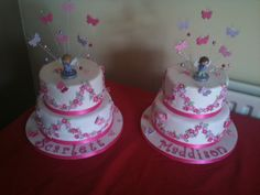 Two cakes for a twin girls first birthday