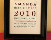 A personalized baby gift- custom birth annoucement art from New Arrival Designs on Etsy