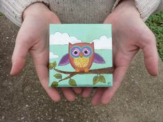 Original Mini Canvas Painting  Owl and by EverettandEloise on Etsy, $22.00