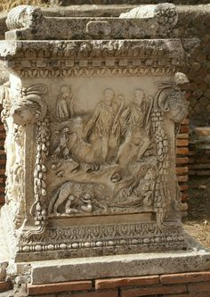 Gemini Altar (Altar of the twins) - Ostia, Italy 0.84 x 0.84 m ,  1.10 m high First day of October, 124 CE