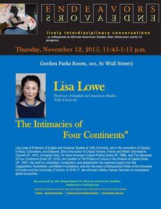 Lisa Lowe at Yale, November 12.