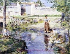 Theodore Robinson, Gossips Fine Art Reproduction Oil Painting