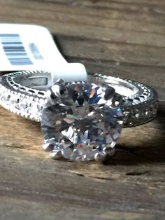 New! A Vintage Style 3.4CT Perfect Round Cut Russian Lab Diamond Engagement Ring