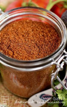 Large Batch Homemade Taco Seasoning is a cinch to prepare and ready when you are for taco night! Full of spice cupboard staples and free from gluten, artificial flavors, and ingredients.   iowagirleats.com