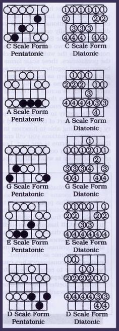 The diatonic scales are 7 note patterns that in a sense are extensions of the pentatonic patterns. They require a bit more work to learn than the pentatonic scales but are well worth the investment to avoid 'pentamania' where lead guitar starts sounding ' Music Theory Guitar, Guitar Sheet Music, Jazz Guitar, Guitar Songs, Acoustic Guitar, Guitar Quotes, Guitar Scales Charts, Guitar Chords And Scales, Music Chords