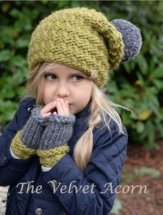 Knitting Patterns Gifts This is a listing for The PATTERN ONLY for The Arwyn Hat/Mitt Set This hat/mitten set is designed wi… Knitting For Kids, Baby Knitting Patterns, Crochet Patterns, Toddler Mittens, Velvet Acorn, Knit Crochet, Crochet Hats, Super Bulky Yarn, Kids Hats