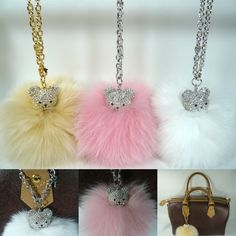 Lovely Crystal Rhinestone Bear Large Big Fox Fur Ball PomPom Chain HandBag Charm #Jacc