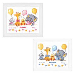 PN-0163514 Birth Record Bear with Bib Cross Stitch Kit Vervaco