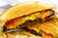 Frisco Melt! I use cube steaks instead of ground beef! I also put all together and cook like a grill cheese!