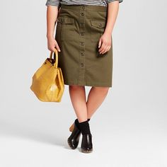 be5446d6b2bdd Women s Plus Size Button Front Midi Skirt - Who What Wear ™   Target Paris  Green
