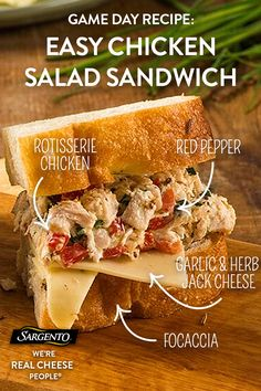 Promoted by Sargento®. In serious need of a party hosting Hail Mary? When you need to make a meal in a pinch, whip up this delicious chicken salad sandwich. It boasts rustic flavors from the chicken salad made with fresh ingredients like chopped chives, red peppers and tangy lemon juice layered on slices of carefully crafted Sargento® Sliced Garlic & Herb Jack Cheese.  Click through for the full recipe!