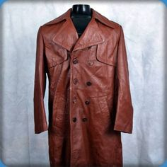 REED Vintage Trench Coat LEATHER Long Spy Jacket Mens Size L 44 Brown