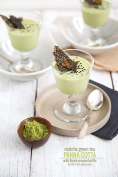 Matcha Green Tea Panna Cotta with Black Sesame Brittle | The Little Epicurean