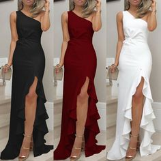 JAYCOSIN 2019 New Summer Women Dress One Shoulder Ruched Ruffle Formal Evening Party Dress Slim Maxi long Dresses vestidos Ball Gowns Evening, Formal Evening Dresses, Evening Party, Formal Prom, Formal Wedding, Elegant Party Dresses, Afternoon Dresses, Prom Long, Evening Cocktail