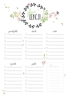 #plan lekcji Timetable Planner, School Timetable, The Plan, How To Plan, Watercolor Flower, Diy Back To School, School Planner, Event Planning Business, School Looks