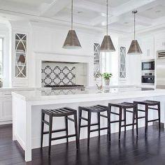 Polished Calcatta Marble, Transitional, kitchen, Brooke Wagner Design