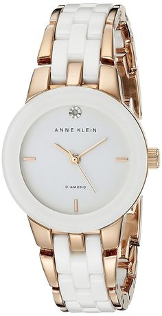 Anne Klein Women's AK/1610WTRG Diamond Dial Rose Gold-Tone and White Ceramic Bracelet Watch -- You can find out more details at the link of the image.