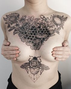 Abandoned honeycomb grown over with mushrooms and lily of the valley, with a harvest bouquet of wilted sunflower, helenium, baby's breath, and fall crocus, and a fluffy bumblebee, rhinoceros beetle and snail. Thanks Olivia!
