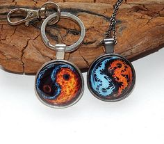 Fire and Water simbol pendant necklace keychain jewelry Yin