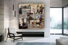 Oversized Abstract Painting-Office Wall Art Industrial Decor image 5