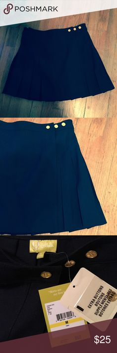 Navy pleated skirt NWT Adorable navy pleated skirt with gold button detail. Has three gold buttons that adjust to different waist sizes to find a perfect fit. I have a size S and a size M. Brand new with tags. Q Mack Skirts Mini