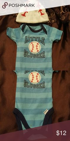 Adorable Baseball Onsie This is too cute, worn once but not hat and excellent condition. Gerber Other