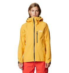 Shields climbers and skiers from unrelenting rain, snow, and other gnarly conditions Light Jacket, Rain Jacket, Skiers, Mountain Hardwear, Rain Wear, Gore Tex, Climbers, Hooded Jacket, Windbreaker