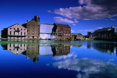 Warehouses reflected in the waters at Grand Canal Docks, Dublin
