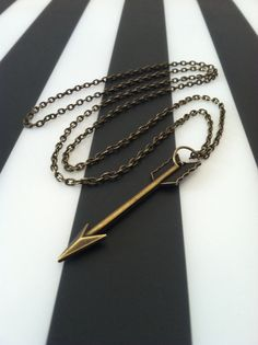 Simple Large Brass Arrow Necklace