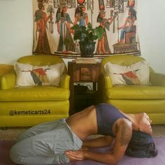 Khepera pose or Scarab pose, rebirth cycles, nurturing, strength, building,  incubation of creation. Flexible hips, quads, knees ,spine, throat and chest opener. KEMETIC Yoga (ancient Egyptian)