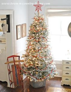 I'm Dreaming of a Vintage Christmas with a White Flocked Tree