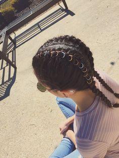 #hair #rings #hairrings #festivalhair #coachella #festival #rosegold #gold #silver #braid #dutchbraid #frenchbraid #