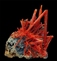 Crocoite, beautiful mineral mined in Tasmania, Russia, Brazil, Mashonaland, and the Phillipines