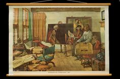 "Schoolplate Painter Rembrandt van Rijn in his ""Schildercaemer"", J. Rembrandt, The Violet, Vintage Fairies, English Artists, Dutch Painters, Vintage School, Black And White Drawing, Art For Art Sake, Art Studios"