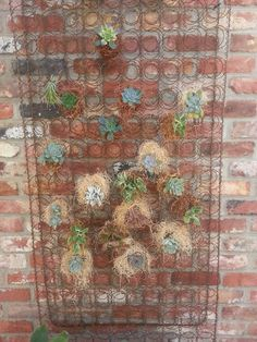 Old child's box spring filled with succulents hung on a brick wall- so vintage!