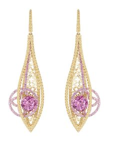 louis vuitton joaillerie la malle aux trésors earrings in yellow and rose gold with two tourmalines and 236 pink and yellow sapphires Pink Jewelry, Diamond Jewelry, Jewelery, Jewelry Accessories, Gold Jewellery, Women Accessories, Louis Vuitton Artsy Mm, Bijoux Design, Jewelry Design