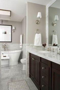 Before & After Bathrooms: Traditional baths I love marble counters on a dark vanity and a deeeeeep soaker tub… aahhh… - Marble Bathroom Dreams Upstairs Bathrooms, Dream Bathrooms, Beautiful Bathrooms, White Bathrooms, Master Bathrooms, Master Tub, Country Bathrooms, Downstairs Bathroom, Traditional Baths
