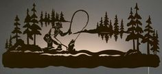 "42"" Fly Fisherman Fishing LED Back Lit Lighted Metal Wall Art"