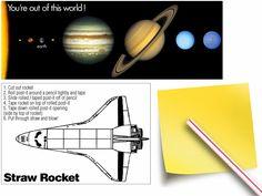 printable solar system v-day cards w/ straw rocket