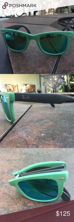 ray ban glass cleaner  ray ban folding wayfarer ray ban folding wayfarer sunglasses green and gray with green lenses.