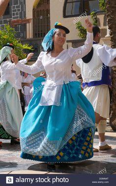 Stock Photo - Traditional costume festival in Las Palmas, Grand Canary, Canary Islands, Spain Cuban Dress, Spanish Dress, Canary Islands, Ancestry, Traditional Dresses, Stock Photos, Costumes, Disney Princess, Fashion