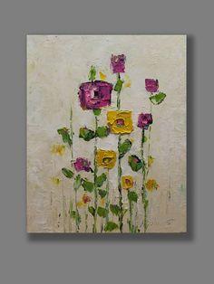 Flores en acrílico Resumen pintura Original por MGOriginalArt