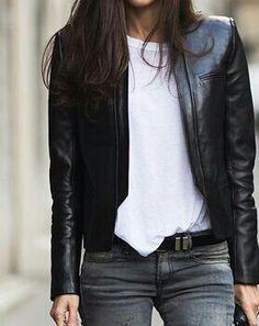 Leather jacket - Black white grey palette <3