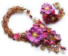 """Купить Комплект """"Нектар"""" - авторские украшения, шиповник, украшения ручной работы, нектар, сочные цвета"""