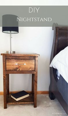 diy furniture Simple one drawer DIY Nightstand. Build your own nightstand with this step-by-step tutorial and free plans from Bitterroot DIY. Woodworking Furniture Plans, Easy Woodworking Projects, Pallet Furniture, Furniture Projects, Wood Projects, Woodworking Tools, Popular Woodworking, Woodworking Machinery, Woodworking Nightstand